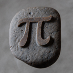 stone sandblasted with pi symbol